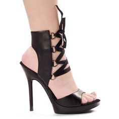 502-TONIC Stiletto Heel Sandal D Ring Lace Up Ankle Cuff