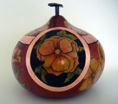 Gourd Art-Lidded Bowl with flowers and copper leaf by artist Dani Montoya
