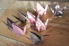 8 grues origami décoration vieux rose marron par LaureDaintyArt