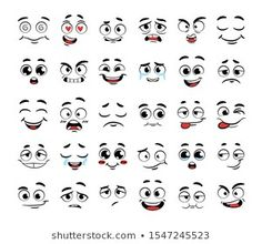 Similar Images, Stock Photos & Vectors of Cartoon faces with different expressions, featuring the eyes and mouth, design elements on white background - 373285615 Cartoon Faces Expressions, Funny Cartoon Faces, Cartoon Expression, Drawing Cartoon Faces, Eye Expressions, Cartoon Eyes, Cartoon Art, Caricature, Relaxing Art