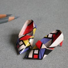 MondrianStyle Miniature Origami Shoes by origamispirit on Etsy, $16.00