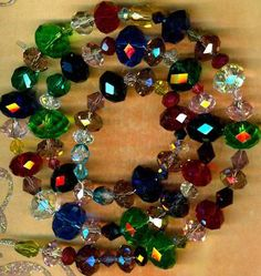 "Austrian Crystal Swarovski Cut Crystal Faceted Rondell Beads 19"" Long Beautiful 