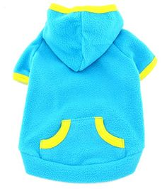 SMALLLEE_LUCKY_STORE Pet Clothes for Small Dog Cat Blank Fleece Coat Hoodie Jumper Sport Style Blue L * You can get more details by clicking on the image.