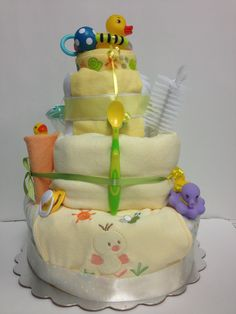 My diaper cakes neutral yellow Rubber Duckies