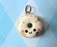 Kawaii Donut Charm Cute Polymer Clay Charm, love it! Crea Fimo, Polymer Clay Kunst, Polymer Clay Miniatures, Fimo Clay, Polymer Clay Charms, Polymer Clay Projects, Polymer Clay Creations, Clay Crafts, Polymer Clay Jewelry