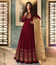 dc57f34f02263 Buy Amyra Dastur Maroon Abaya Style Anarkali Suit online, SKU Code: This Maroon  color Party anarkali suit for Women comes with Embroidered Faux Georgette.