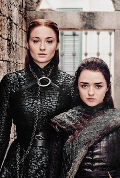 Arya and Sansa for Entertainment Weekly. Credits to lanniste-Arya and Sansa for Entertainment Weekly. Credits to lannisten Sansa & Arya Stark…carrying out karmic justice for the injustices done to their family. Dessin Game Of Thrones, Game Of Thrones Sansa, Arte Game Of Thrones, Game Of Thrones Funny, Costumes Game Of Thrones, Game Of Thrones Characters, Movie Characters, Liam Cunningham, Game Of Thones