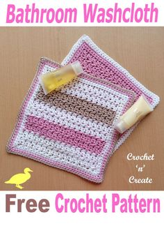 Crochet this free bathroom washcloth pattern for Christmas gifts or for your own home. - Washcloth - Ideas of Washcloth Crochet Kitchen, Crochet Home, Crochet Gifts, Free Crochet, Knit Crochet, Easy Crochet, Basic Crochet Stitches, Crochet Basics, Crochet Dishcloths