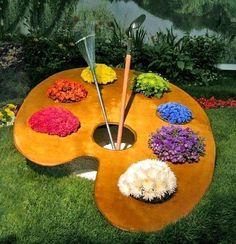 .pallet of beautiful flowers. how cute