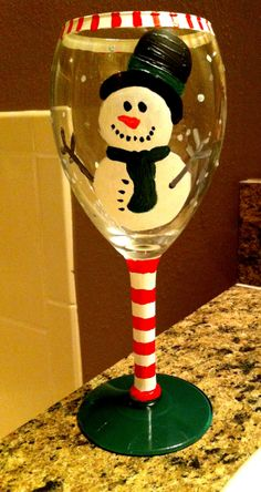 Xmas hand painted wine glasses