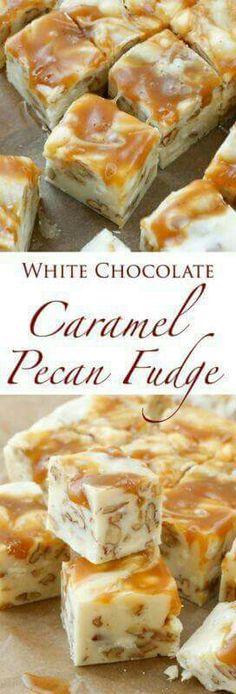 Caramel Pecan Fudge White Chocolate Caramel Pecan Fudge is a quick and easy 5 Minute Fudge Recipe and it's a huge favorite this year.White Chocolate Caramel Pecan Fudge is a quick and easy 5 Minute Fudge Recipe and it's a huge favorite this year. Fudge Recipes, Candy Recipes, Sweet Recipes, Dessert Recipes, Baking Recipes, Just Desserts, Delicious Desserts, Yummy Food, Trifle Desserts