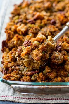 Note: I think I'd leave out the sausage and maybe cut back on the herbs. Get an early start on Thanksgiving dinner with this make ahead cornbread stuffing recipe. Packed with herbs, this flavorful side dish is always a favorite! Thanksgiving Side Dishes, Thanksgiving Recipes, Holiday Recipes, Thanksgiving Turkey, Christmas Desserts, Holiday Treats, Christmas Baking, Christmas Decor, Dinner Recipes