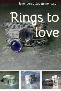 Spring Pear rings sterling silver hand forged leaves /& band with labradorite stone.