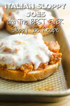 Easy Italian Sloppy Joes is the best sloppy joe recipe. Loaded with Italian sausage, bell peppers and provolone cheese. They are messy, savory, adult friendly, kid friendly and just plain good. Chicken Sloppy Joe Recipe, Best Sloppy Joe Recipe, Homemade Sloppy Joe Recipe, Homemade Sloppy Joes, Healthy Sloppy Joes, Italian Main Dishes, Quiche, Slow Cooker Sloppy Joes