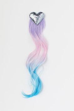 Metal hair clip with a glittery decoration at top and hair extensions. Pink Turquoise, Purple, Curly Hair Styles, Natural Hair Styles, Blonde Hair Extensions, Metal Hair Clips, Heart For Kids, Girls Accessories, Costume Accessories