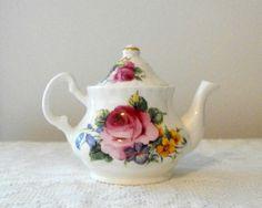 Vintage  Miniature  Bone China Tea Pot Pink  Rose by bobann23, $10.50