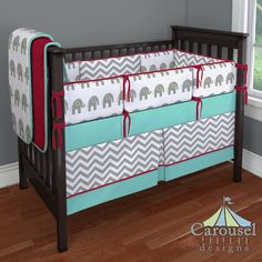 Custom baby bedding in White and Gray Zig Zag, White and Gray Elephants, Solid Red, Solid Teal. Created using the Nursery Designer® by Carousel Designs where you mix and match from hundreds of fabrics to create your own unique crib bedding. #carouseldesigns