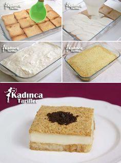 Bisküvili Etimek Tatlısı Recipe, How To? Dessert Cake Recipes, Desserts, Turkish Recipes, Ethnic Recipes, Turkish Sweets, International Recipes, No Bake Cake, Vanilla Cake, Fish And Meat
