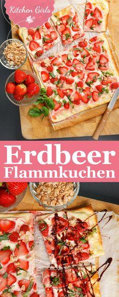 Rezept für süße Erdbeerflammkuchen mit Basilikum