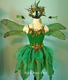 Woodland Faerie - adult size medium - with dragonfly wings - moss faerie crown - skirt and top  $300