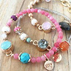 roze kralen armbandje strass steentje