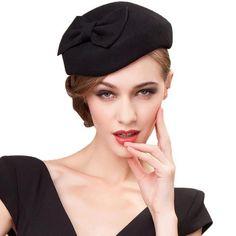 dc97ee659f20e 100% Wool Black Pillbox Hats For Elegant Women