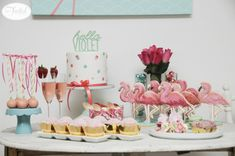 Flamingo Sip and See Dessert Table - Project Nursery
