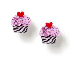 Own these too! :D - For the accessory-lover with a sweet tooth: Zebra Glitter Cupcake Stud Earrings