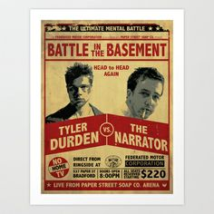 Fight Club Fight Poster Art Print by Jon Hernandez - $15.00