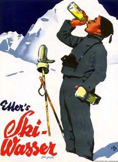 Ski Wasser Retro Ski Poster