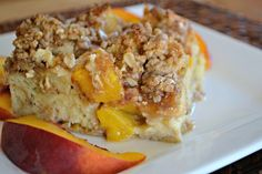 This Peaches and Cream Baked French Toast is made of peaches, cream cheese, French Bread and an egg mixture to make it the perfect seasonal breakfast a favorite everyone's sure to love.