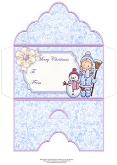 CHLOE SNOWMAN Christmas Money Wallet Envelope on Craftsuprint designed by Janet Briggs - Christmas money wallet money envelope or gift voucher holder, featuring the lovely Chloe and snowman.Sentiment tag on the front reads Merry Christmas and includes space for a To and From message.Choose whether to just fold the side flaps over, or glue for a sealed envelope. Cut a horizontal slit where shown on the back, to create a slit for the envelope flap. - Now available for download!