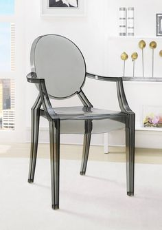 2 Contemporary Polycarbonate Ghost Chairs