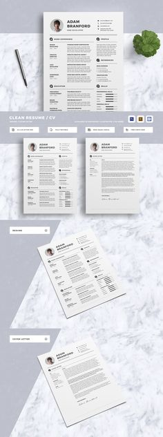 Clean and Professional Resume Set - Template PSD, MS Word docx - resume docx