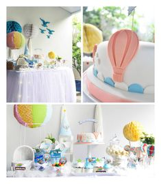 Above The Clouds Hot Air Balloon Baby Shower via Kara's Party Ideas //This is one cute party! I love that it gives off the feeling that you are truly above the clouds with its light color pallet and cloud covered dessert table! The desserts in it are also equally light and charming and look simply scrumptious! This party is just darling and has so many cute ideas that could easily work for a baby shower or birthday party!