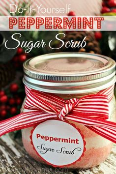DIY Peppermint Sugar Scrub Recipe - Includes FREE Printable Labels for Gifts. Great Homemade Christmas Gift Idea!