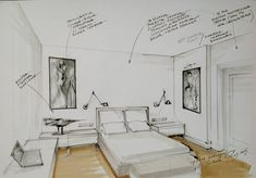 Interior conceptual sketch. (Bedroom sketch by Magdalena Sobula_Pe2)