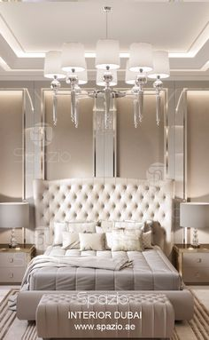 Master bedroom decor and design was developed by Dubai interior design company Spazio. Visit our web site to get design ideas and inspiration.