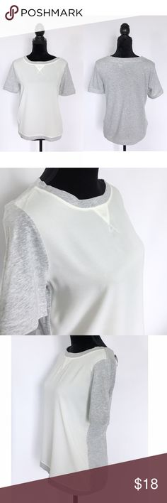 """NEW MNG [MANGO] White and Gray Tee BRAND NEW WITH TAGS  White front with soft cotton gray back  Cute with jeans or shorts  Loose and casual fit   Size Small Bust 19"""" Length: 24"""" Mango Tops Tees - Short Sleeve"""