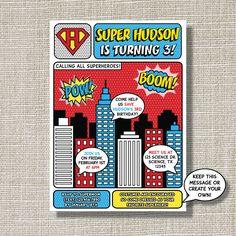 SUPERHERO Invitation - Birthday - INSPIRED - Pop Art - Comic Book - Invite - Super Hero - Style A. $15.00, via Etsy.