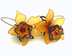 Lucite Flower Earrings - Orange and purple tulips