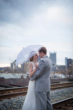 Pittsburgh Station Square, railroad tracks. Wedding photo.
