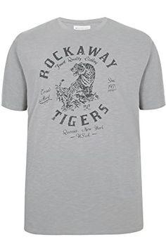 Mens Badrhino 'rockaway Tigers' Print Crew Neck Slub Jersey T-shirt Size M Grey
