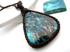 Macrame necklace, Azurite jewelry, Azurite Necklace, Blue lover,  Yoga jewelry,  crystal neckalce, Bohemian jewelry, hippy jewelry
