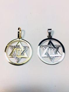 5855bca9e 14k white gold Jewish star with Chai ,Star of David ,Shield of David