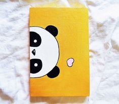 easy drawings for kids, acrylic painting of a panda's head, pink heart above it on yellow background painting ideas on canvas for kids Disney Canvas Art, Kids Canvas Art, Small Canvas Paintings, Small Canvas Art, Mini Canvas, Canvas Ideas, Panda Painting, Cartoon Painting, Acrylic Painting Animals