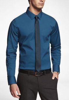 """Regis"" monochromatic tie and shirt (darker tie) http://www.express.com/1mx-extra-slim-fit-stretch-cotton-shirt-36550-800/control/show/3/index.pro#jsLink"