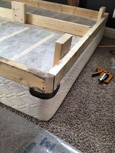 Best Diy Bed Frame By Adding Simple Legs And Upholstery To Box 400 x 300