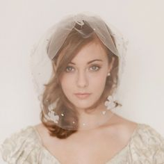 Tulle birdcage blusher veil with blossoms by EricaElizabethDesign, $125.00
