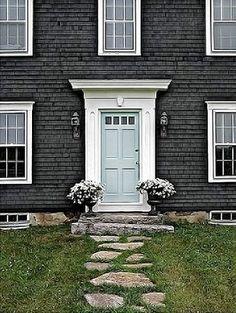 grey cedar shake and my aqua door!!!!!